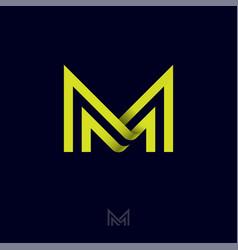 M letter monogram lines symbol vector