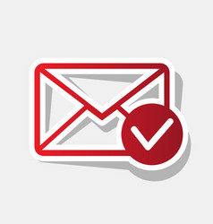 mail sign with allow mark vector image