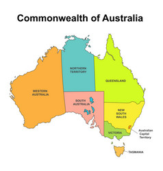 Map of australia with internal regional boundaries vector