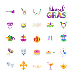 Mardi gras set of carnival decorative elements vector