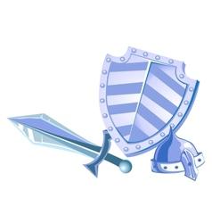 Metal shield helmet and sword vector