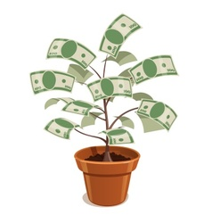 Money tree with dollars in pot vector