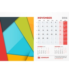November 2016 Desk Calendar for 2016 Year vector