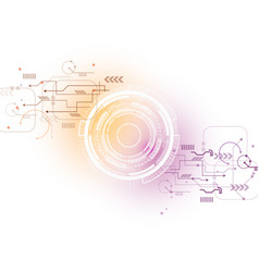 Orange purple technology circuit background vector