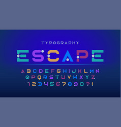 original futuristic display font design alphabet vector image