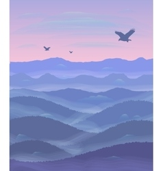 Panorama of hills Sunset Mist Flying eagles vector