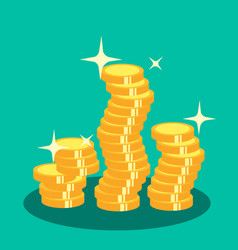 Pile of gold coins sparkling vector