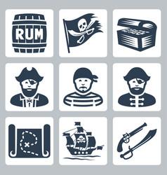 pirates piracy icons set vector image