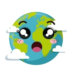 Planet earth character of the solar system vector