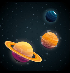 Planets of the solar system scene vector