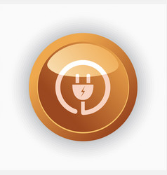 plug icon on orange round button vector image