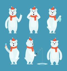 Polar bear cartoon ice snow white funny wild vector