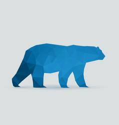polar bear polygon blue silhouette vector image