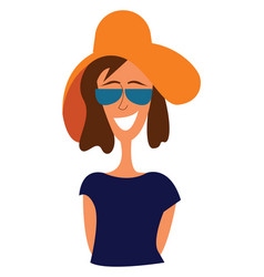 portrait of a girl in blue shirt with big brown vector image