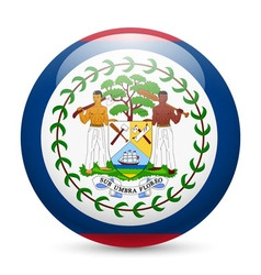 Round glossy icon of belize vector