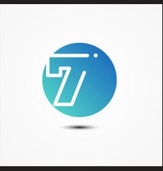 round symbol number 7 design minimalist vector image