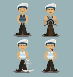 sailor characters set vector image