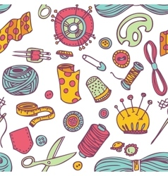 Seamless doodle sewing and needlework vector