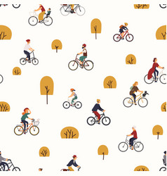 seamless pattern with people riding bikes vector image