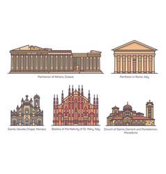 Set european religion buildings in color vector
