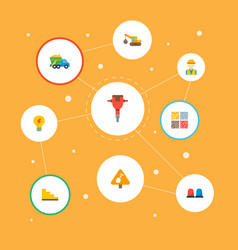 set of industrial icons flat style symbols with vector image