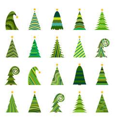 set of twenty different christmas trees vector image