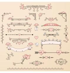 Set of vintage calligraphic elements vector