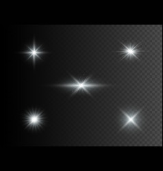 set silver glowing lights transparent effect vector image