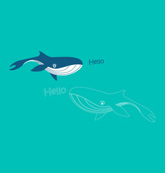 set with cute whales vector image