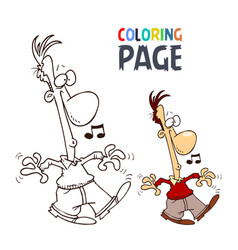 singing people cartoon coloring page vector image
