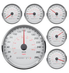 Speedometer kilometers and miles speed gauge vector