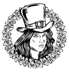 tattoo beautiful women saint patrick vector image