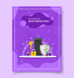 technology data protection people standing around vector image