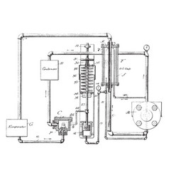 Thermal insulated refrigerating machine vintage vector