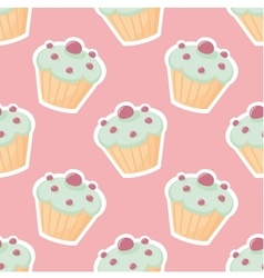 Tile pattern with cupcake on pink background vector image