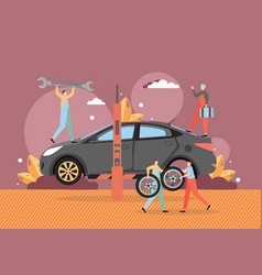 tire change and car service auto repair shop vector image