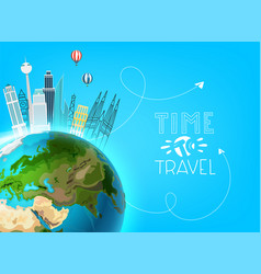 travel destination concept with earth vector image