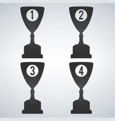 trophy cup flat icon with places number isolated vector image