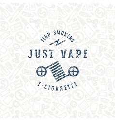 Vape shop seamless pattern and label vector