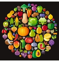 Vegetarian icon set with fruits berries and vector