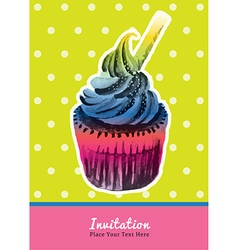 Vintage cupcake invitation water colour on green vector