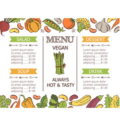 Vintage vegetarian menu vector