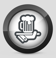 Waiter serving beer icon vector