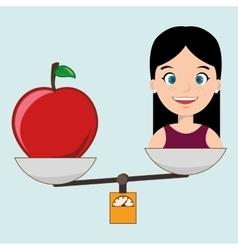 woman cartoon fruit food balance vector image