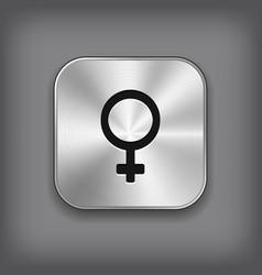 Female icon - metal app button vector image vector image
