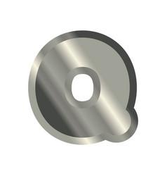 Letter q steel font metal alphabet sign iron abc vector