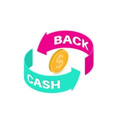 sign cash back vector image