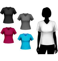 T-shirts female set vector image