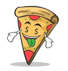 money mouth face pizza character cartoon vector image vector image