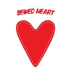 Sewed Handmade Heart vector image vector image